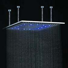 "24"" LED Multi Color Ceiling Mount Shower head - Brushed Stainless Steel - Square"