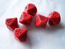 6 red & black ladybird 10 sided dice set