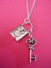 FREE GIFT ** ANTIQUED SILVER PENDANT NECKLACE Mickey Mouse Key and Locket
