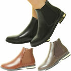 New Ladies Flat Chelsea Ankle Boot Elastic Gusset Pull On Riding Heel Shoes