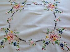 VINTAGE HAND EMBROIDERED CREAM COTTON TABLE CLOTH 32X33 INCHES