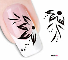 Nail Art Sticker Water Decals Transfer Stickers Flowers Black & White (DX1562)