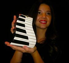 TIMMY WOODS PIANO Keyboard Black White Acacia Wood CLUTCH Purse MINAUDIERE NWT