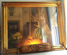 Large Victorian Gold Tone Ornate Antique Wood Picture Frame w/Lamp Backlight