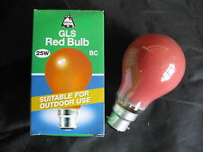 2x  BELL RED  25W Coloured B22 BC Bayonet Lamp Light Bulb 240V Old Style