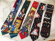 Novelty Mens Ties Flintstones Coca cola Bear Tom & Jerry Current Affairs Lot 5
