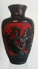 BEAUTIFUL CHINESE BLACK AND RED CINNABAR VASE NICE DETAIL C-1910
