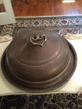 Large Antique Copper Round Domed Meat Server With Tray