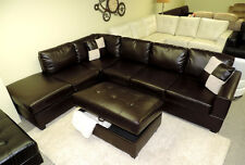 Modern Contemporary Espresso Brown Leather sectional sofa Furniture couch