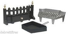"""16"""" 40cm STYLE FIRE GRATE SET COAL SOLID FUEL WOOD c/w Brass & Chrome Finials"""