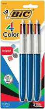 BIC 4-Color Ball Pen, Medium Point (1.0mm)Assorted Ink 3Count MMP31-ASSORTED AOI