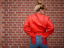 Damen SCHAF-NAPPA Lederjacke Jacke ECHT LEDER ROT 90er TRUE VINTAGE 90's RED