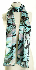 ECHO Design 100% Silk Python Snake Print Rectangle Scarf - Blue $88
