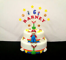 PACKAGE Super mario birthday  cake topper and loose cake decoration set