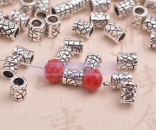 Wholesale 100pcs 6mm Tube Tibetan Silver Metal Bead Caps Loose Spacer Beads Lot