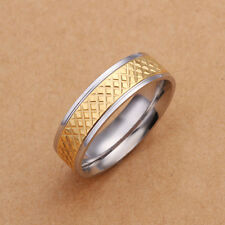 Stainless Steel Gold Tone Gold Band Ring Size 8 B100