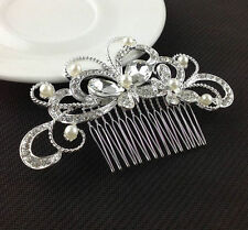 Bridal Wedding Silver Crystal Rhinestone Diamante Butterfly Hair Clip Comb