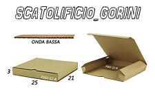 10PZ SCATOLA CARTONE 25x21x3 FUSTELLATA IMBALLO  SPEDIZIONE BAULETTO PIATTA