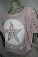 Made in Italy T- Shirt blogger Top S M L XL Vintage Nieten Strass rosa Oversized