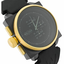 Welder Gold Plated Black Dial Silver Index Men's Watch K26-5102 DB GOLD/IPB T.T