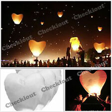 20 WHITE HEART Chinese Fly Sky Paper Kongming Floating Wishing Lantern Wedding
