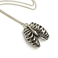 Rib cage necklace Anatomical skeleton horror goth gothic victorian silver
