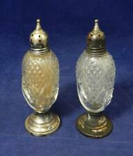VTG Sheffield Silver Co Crystal & Weighted Sterling Salt & Pepper Shakers EUC