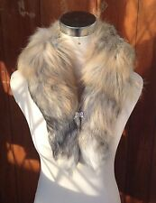 beige grey cream genuine real fox tail fur collar scarf neck warmer shawl stole