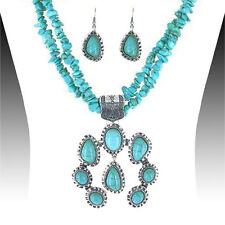 Turquoise Bead Squash Blossom Silver Necklace Multi Strand Southwest Jewelry Set