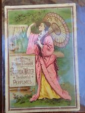 Murray & Lanman Florida Water Perfume Trade Card Asian Umbrella Pink Robe 1881