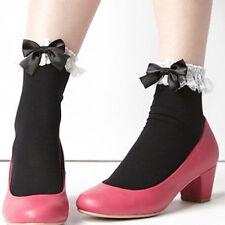 NEW VIVI Princess Black Ribbon With White Lace Ruffle Ankle Short Socks