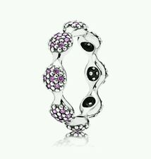 190889CFP NEW Genuine Pandora Sterling Silver Fancy 8 pod Purple CZ Ring Size 50