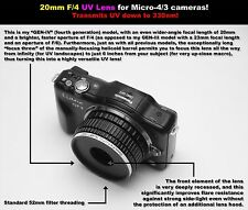 20mm F/4 UV lens for Micro 4/3 cameras! For ultraviolet photography!