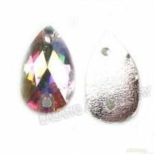 150x 24288 Teardrop Colorful Clear AB Sew-on Faceted Resin Flatback Beads 7x12mm