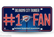 OKLAHOMA CITY THUNDER #1 FAN METAL MADE IN USA  AUTO TAG CAR LICENSE PLATE