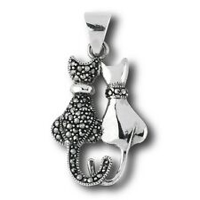 Whimsical Sterling Silver & Marcasite Sitting Cat Pair Pendant - New