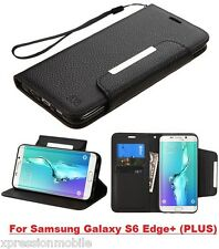 BLACK Leather Flip Wallet Case Hybrid Cover For Samsung Galaxy S6 Edge + Plus