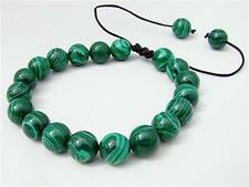 Men's Shamballa bracelet all 10mm Malachite gemstone beads