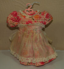 Vintage Factory PINK Floral GINGHAM DRESS w/ Built in APRON For Medium Doll