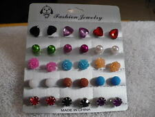 12 PAIR VARIOUS SHAPES/COLORS PIERCED EARRINGS 1/2' SILVER TONE HEART/ROUND