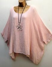 New  Italian Lagenlook PINK Loose cotton Kaftan Tunic Top Onesize 18 20 22 24