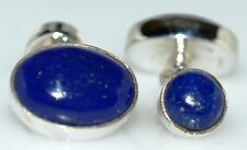 Sterling SILVER Lapis Lazuli Cufflinks in 925 chain, Double side Gems Cuff links