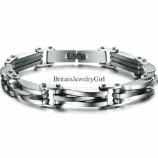 """Fashion Stainless Steel Rhombus Chain Link Men's Bracelet 8.7"""" Color Gold Silver"""