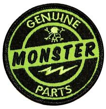 """Genuine Monster Parts"" Truck & Auto Racing Embroidered Iron On Applique Patch"