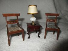Vintage Wooden Dollhouse 2 Chairs (Japan), Table & Lamp Pretend Play Toys