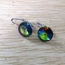Gold Filled Silver Womens Big Large Round Rainbow crystal Hoop Earrings