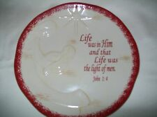 "HOBBY LOBBY ""THE PROMISE OF CHRISTMAS"" DINNER PLATE SCRIPTURE JOHN 1:4 LIFE"