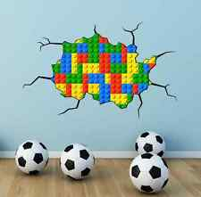 FULL MULTI COLOUR LEGO BRICKS CRACKED Wall Art Stickers Bedroom Graphic Print