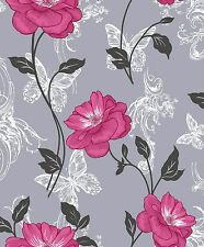 NEW Crown Milie Butterflies  Floral Designer Wallpaper  Pink / Charcoal - M0877