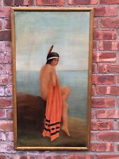 Circa 1900 Oil Painting Of Nude Native American Woman In Chiefs Blanket. Signed